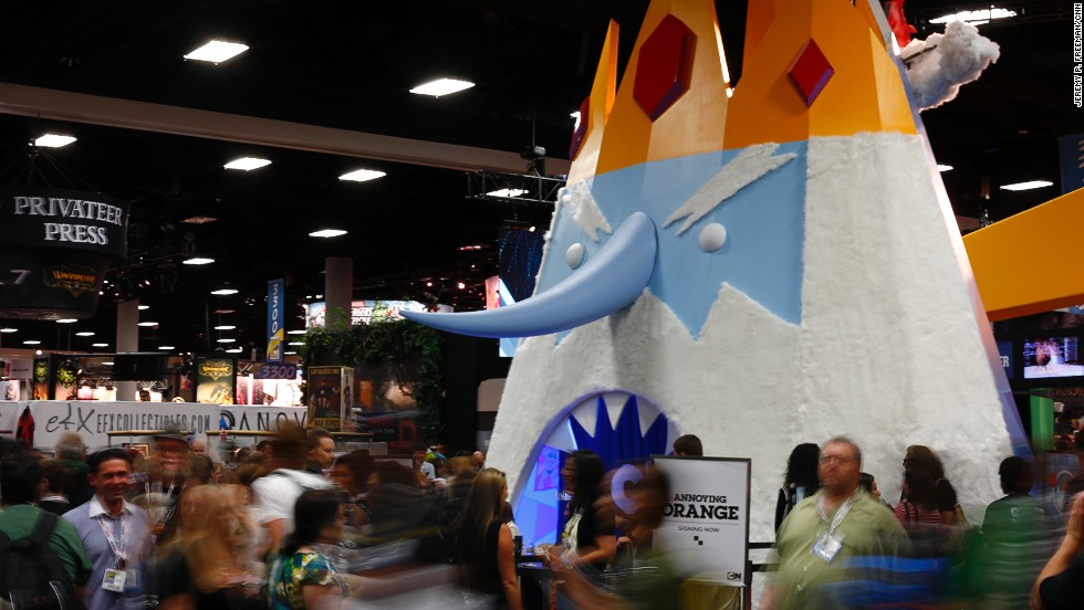 "The ""Adventure Time"" booth at Comic-Con International towers over crowds of guests on July 18."