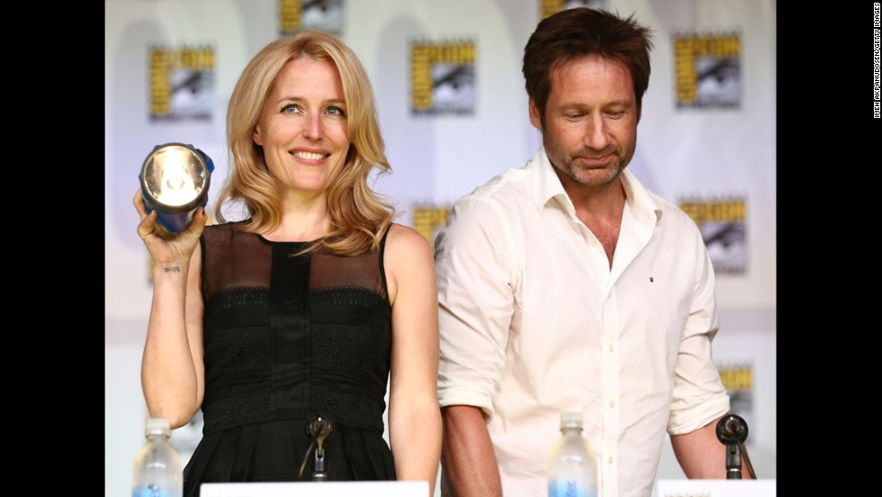 "Gillian Anderson, left, and David Duchovny attend the 20th anniversary celebration of ""The X-Files"" with TV Guide Magazine at the San Diego Convention Center on Thursday, July 18."