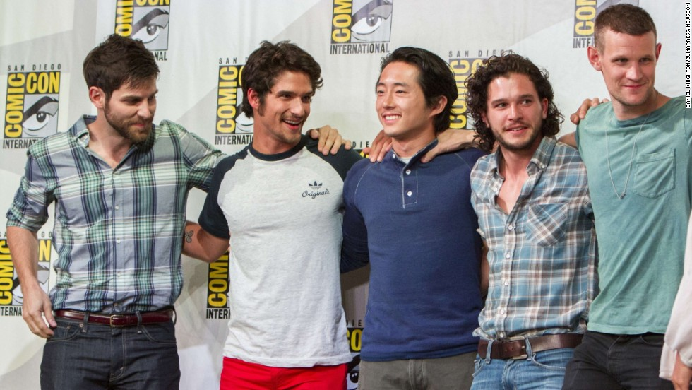 "From left, David Giuntoli (""Grimm""), Tyler Posey  (""Teen Wolf""), Steven Yeun (""The Walking Dead""), Kit Harington (""Game of Thrones"") and Matt Smith (""Doctor Who"") appear at Entertainment Weekly's Brave New Warriors panel on July 18."