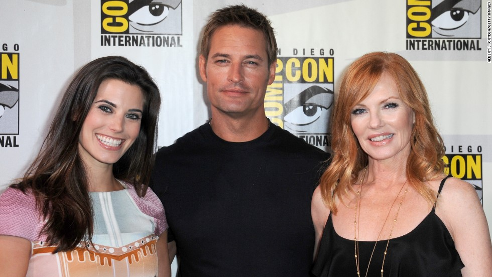 "Actors Meghan Ory, left, Josh Holloway and Marg Helgenberger speak onstage at the ""Intelligence"" panel at San Diego Convention Center<strong> </strong>on July 18. The sci-fi TV series is set to premiere in February."