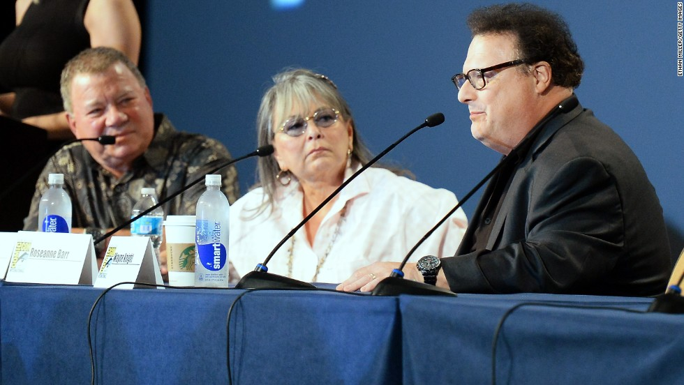 Actors William Shatner, left, Roseanne Barr and Wayne Knight speak onstage at Comedy Legends of TV Land at the Hilton San Diego Bayfront Hotel on July 18.