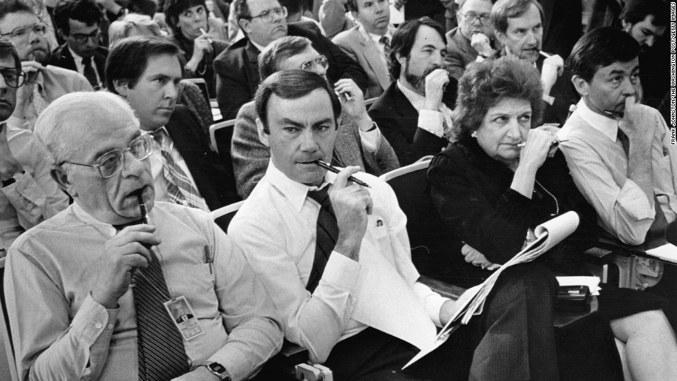 Journalists Ralph Harris, left, Sam Donaldson, Thomas and Bill Plante listen during a press briefing on Libya on March 25, 1986.