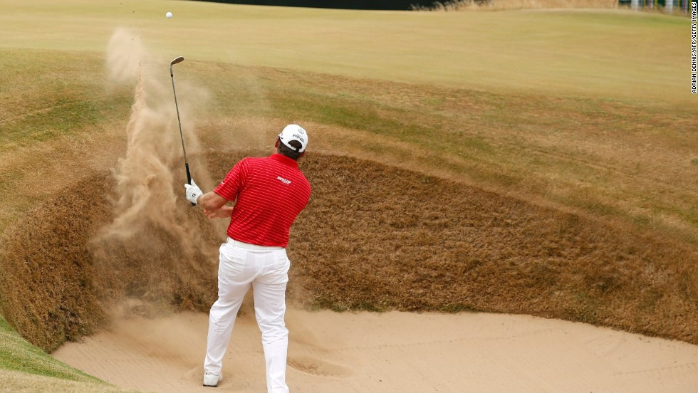 Britain's overnight leader Lee Westwood spends too much time in the bunkers on Sunday and finished tied for third on one over.
