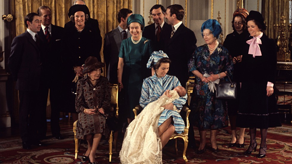 Members of the royal family with Peter Phillips after his christening in December 1977. Phillips is the son of Princess Anne, seen holding him, and Capt. Mark Phillips and the grandson of Queen Elizabeth II, center, and Prince Philip.