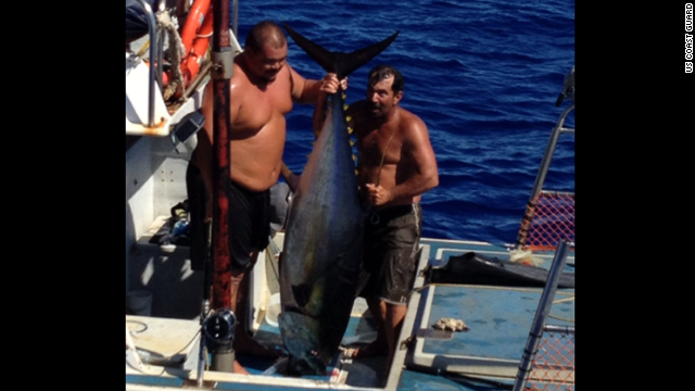 Anthony Wichman caught a 230-pound Ahi tuna in Hawaii Friday, July 19. The wounded fish dove off the boat dragging Wichman with it and nearly drowning him.