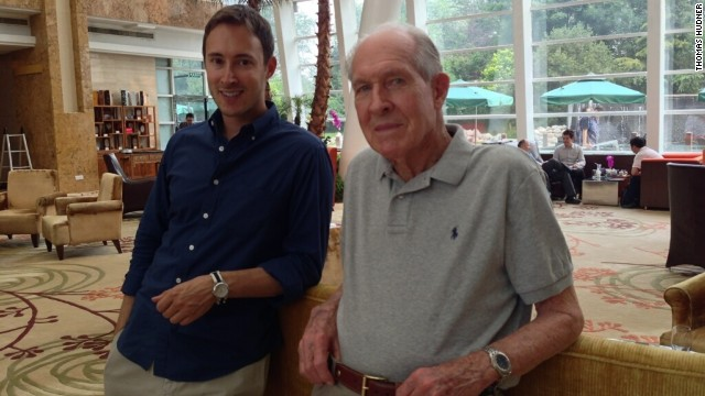 Photo of Korean War veteran Thomas Hudner (R) in Beijing, China on July 19, 2013.