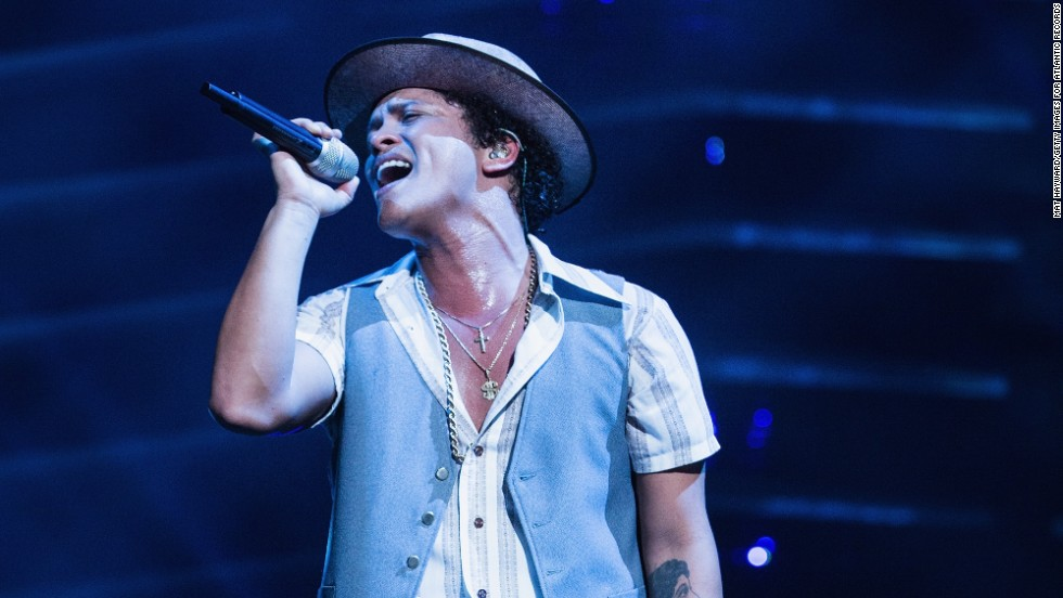 Grammy Award winner Bruno Mars performs at Key Arena in Seattle, Washington
