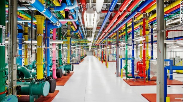 A central cooling plant at Google's data center in Douglas County, Georgia, features the company's iconic muli-colored design.