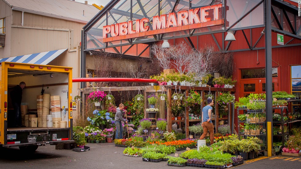 Is it possible to see Vancouver on $10 a day? More so in some places than others. The strict rules enforced against franchise stores in Granville Island allow independent stores -- such as this public market -- to thrive.
