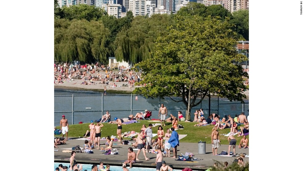 Kitsilano Beach might be mistaken for a California coastline, and its saltwater swimming pool at the western end is accessible for just $6.