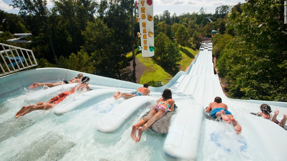 "A highlight at SeaWorld's Water Country USA in Williamsburg, Virginia, is the Nitro Racer, where body surfers can enjoy a ""six-lane highway full of slippery fun."" Water Country hosted 748,000 guests in 2012, according to the Themed Entertainment Association."
