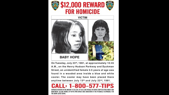 """Baby Hope's"" body was found in a picnic cooler in a wooded area near the Henry Hudson Parkway in New York on July 23, 1991."