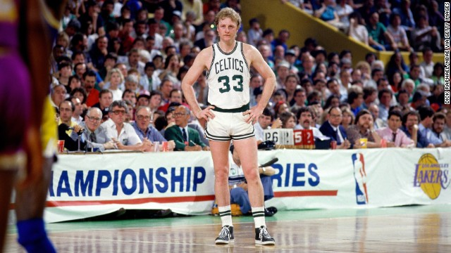 BOSTON - JUNE 9:  Larry Bird #33 of the Boston Celtics stands on the court during Game Six of the 1985 NBA Finals against against the Los Angeles Lakers at the Boston Garden on June 9, 1985 in Boston, Massachusetts. Copyright 1985 NBAE (Photo by Dick Raphael/NBAE via Getty Images)