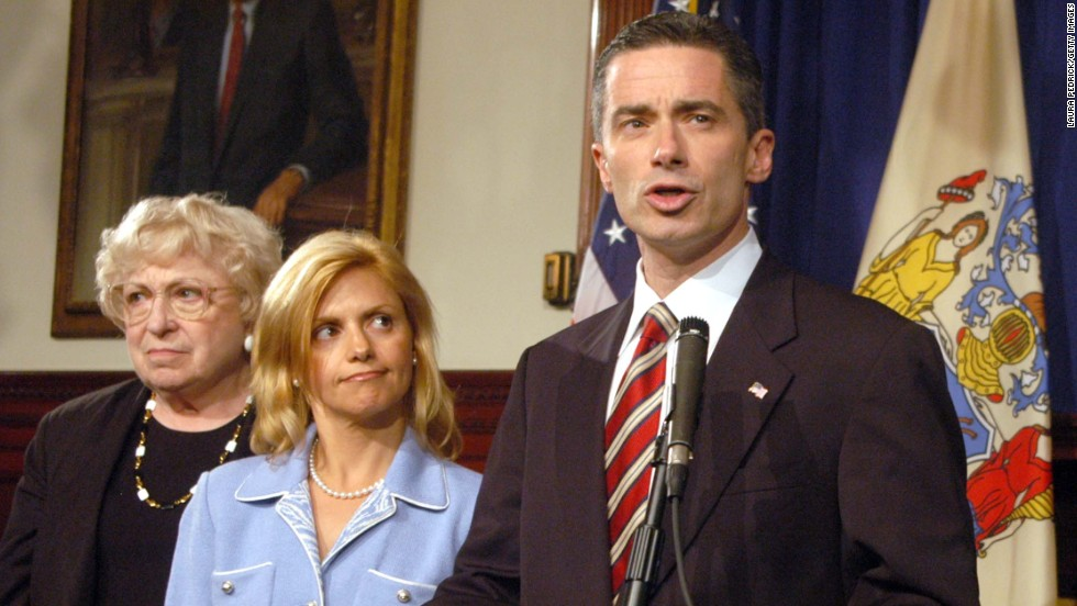 "Former New Jersey Gov. Jim McGreevey, with his then-wife Dina Matos standing by, told a packed news conference in August 2004: ""My truth is that I am a gay American"" and that he had engaged in a consensual affair with his homeland security adviser, who had threatened to sue him for sexual harassment."