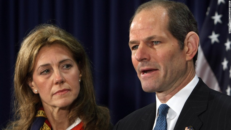 Former New York Gov. Eliot Spitzer, shown here with wife Silda Wall Spitzer, resigned in March 2008 after it was revealed that he had spent thousands of dollars on prostitutes.