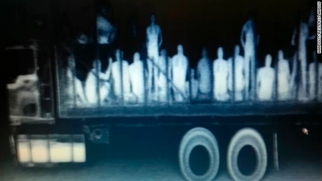 Police x-ray equipment detected 94 migrants packed into a truck at a checkpoint in La Pochota, Mexico.