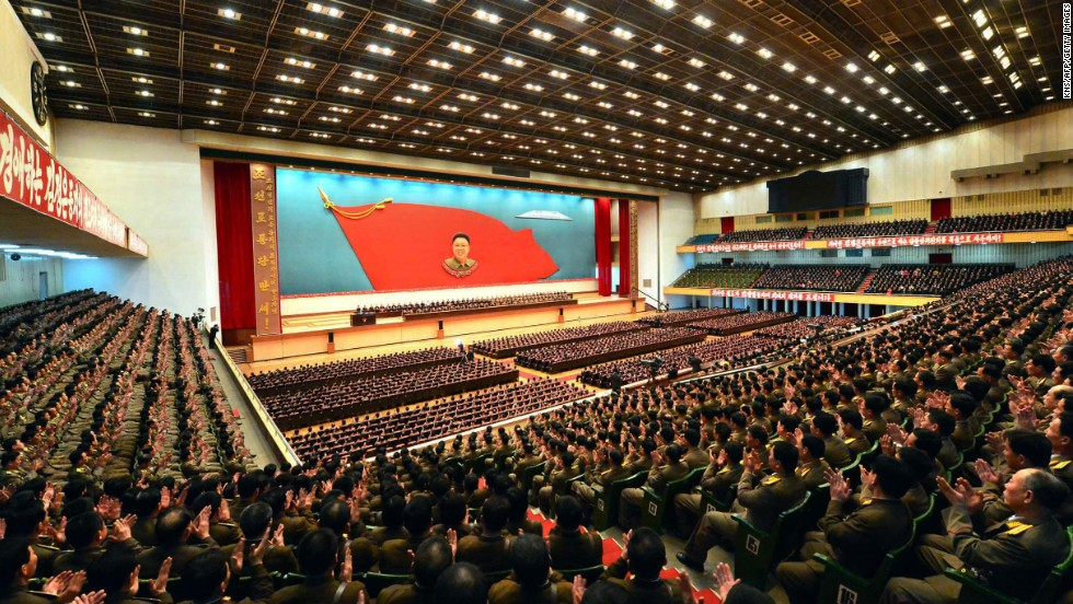 A national meeting marks the anniversary of the birth of the late leader Kim Jong II at Pyongyang Indoor Stadium on Saturday, February 16.