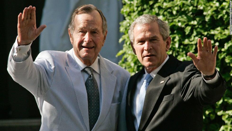 George Herbert Walker Bush and George W. Bush: America's 41st and 43rd presidents. Bush Sr. is the oldest surviving former president. George W. Bush is the second son of a former president to hold the office.