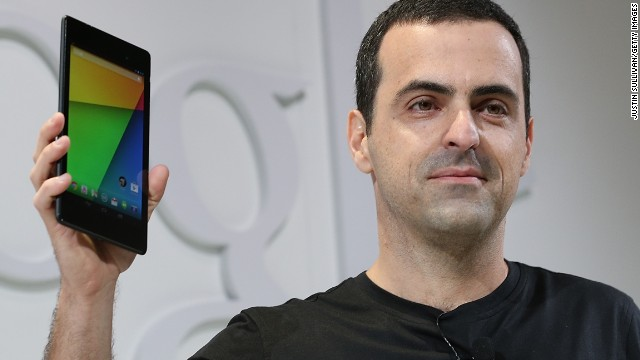 Hugo Barra, vice president of Android product management at Google, holds up a new Nexus 7 tablet Wednesday.