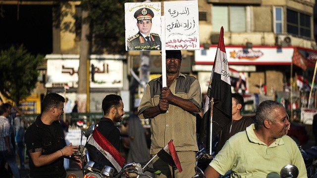Egyptian army chief calls for protests
