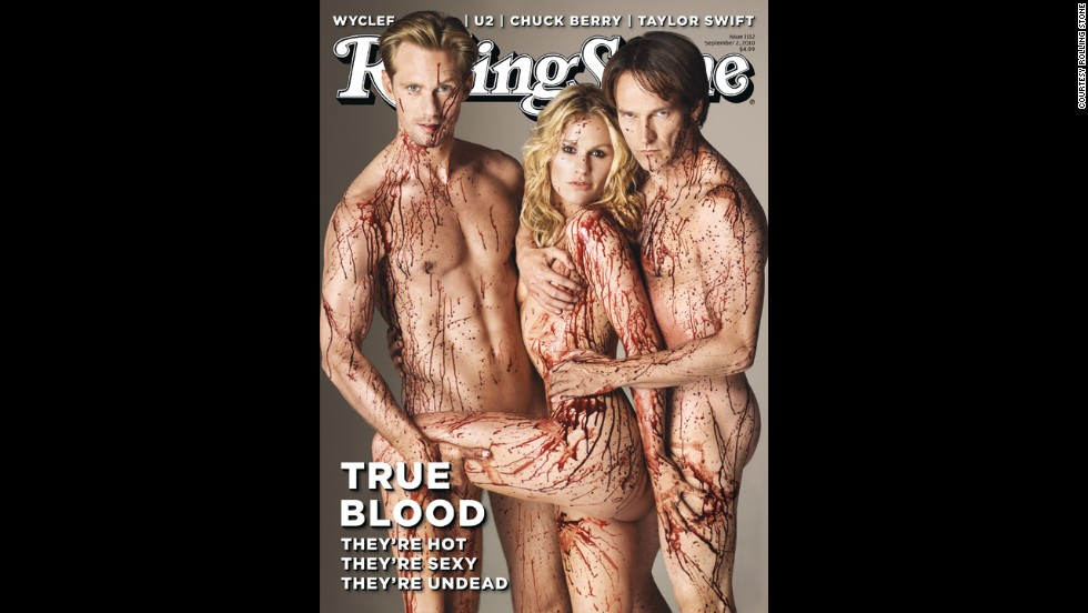 "From left, ""True Blood"" stars Alexander Skarsgard, Anna Paquin and Stephen Moyer appear naked on the <a href=""http://www.rollingstone.com/movies/news/the-joy-of-vampire-sex-the-schlocky-sensual-secrets-behind-the-success-of-true-blood-20110610"" target=""_blank"">September 2010 cover</a> of Rolling Stone. Alan Ball, the creator of the hit HBO series, told the magazine: ""To me, vampires are sex. I don't get a vampire story about abstinence."" Fans were likely not taken aback by the nude threesome, but the cover had some people calling for it to be pulled from shelves."