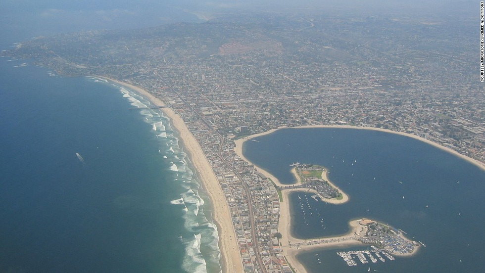 A view of the seaside communities of northern San Diego, including Mission Beach.