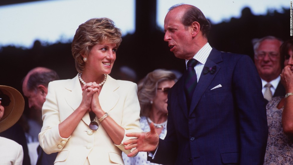 Princess Diana talks to the Duke of Kent while attending the 1995 men's singles final at Wimbledon between Pete Sampras and Boris Becker.