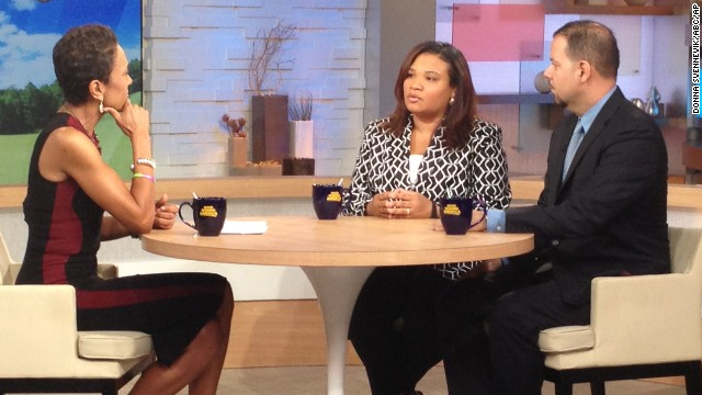 "Juror B29 from the George Zimmerman trial, center, appears on ""Good Morning America"" on Thursdatm July 25."