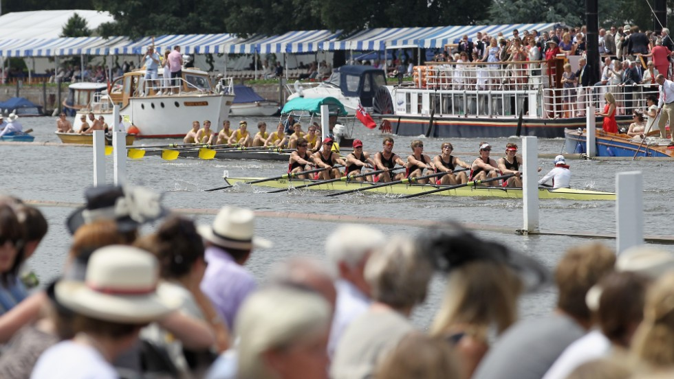 A typical scene at the Henley Royal Regatta with plenty of Panama hats in view and hospitality in full swing.
