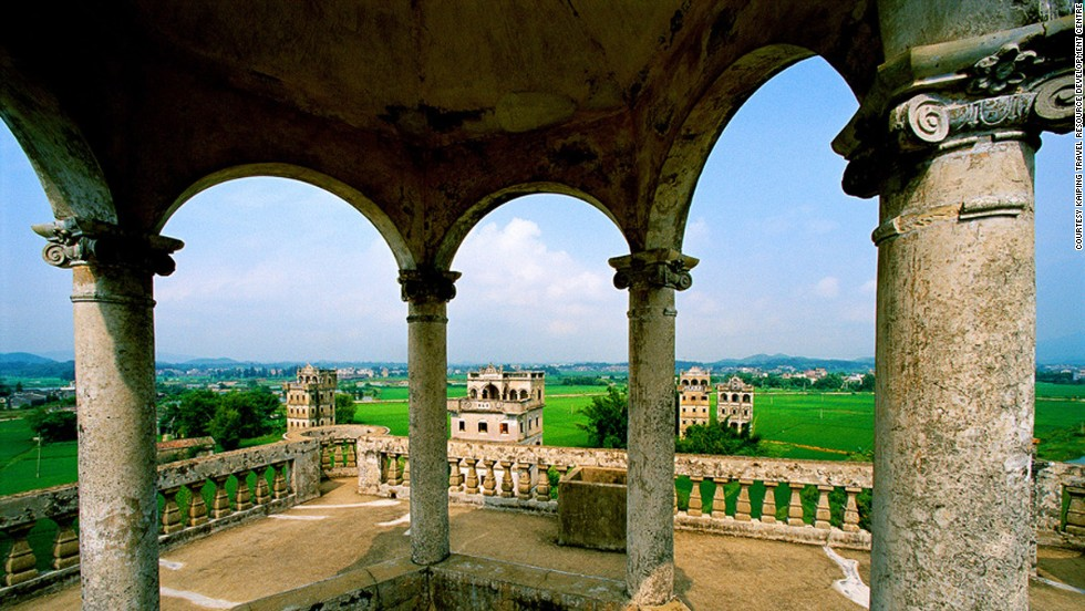 About 1,800 castle-like towers dot the landscape around Kaiping, a Chinese city near Guangzhou in the Pearl River Delta. Some of the towers date to the Ming dynasty. Others were constructed in the early 20th century and bear obvious Western influences.