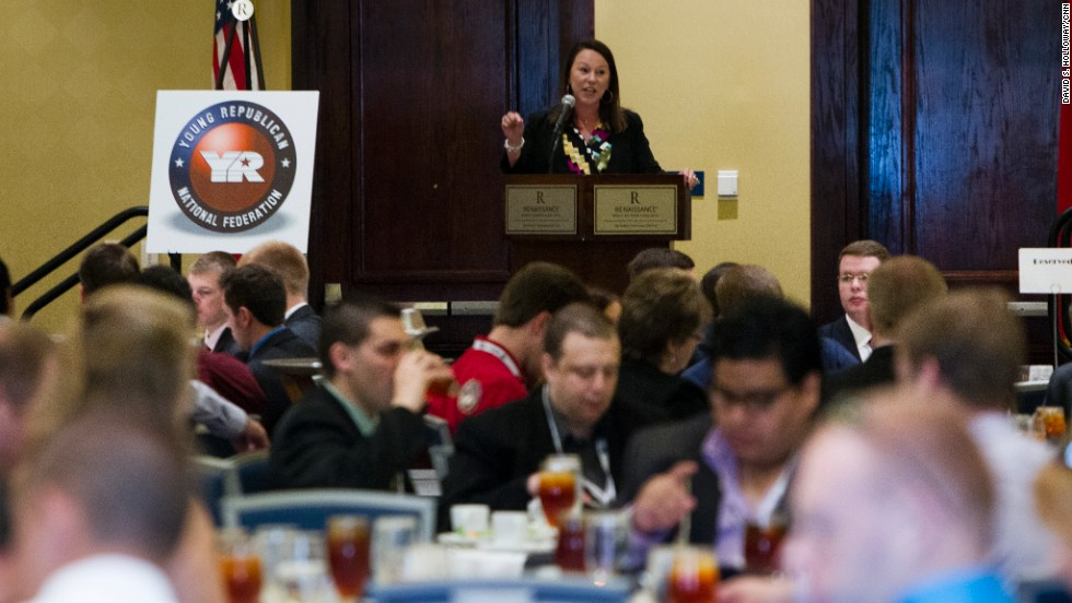 "Rep. Martha Roby of Alabama addresses the crowd. ""Now, more than ever, our party needs bright young people engaged in meaningful conversation, with fresh ways to implement our conservative ideas,"" she said."