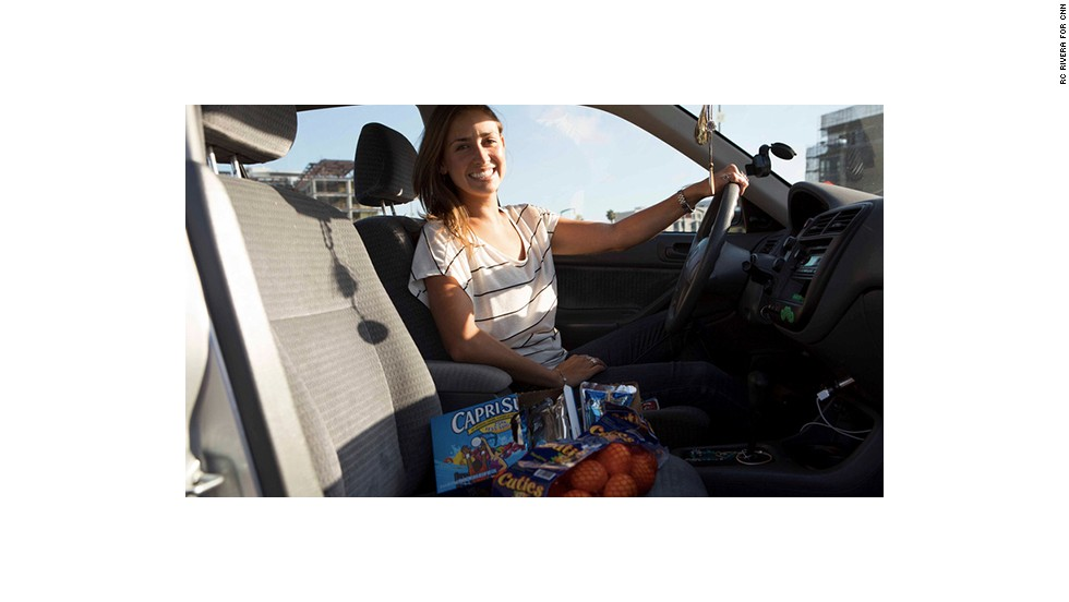 Singer Juliana Urban goes the healthy route and stocks her car with clementines and Capri Suns.