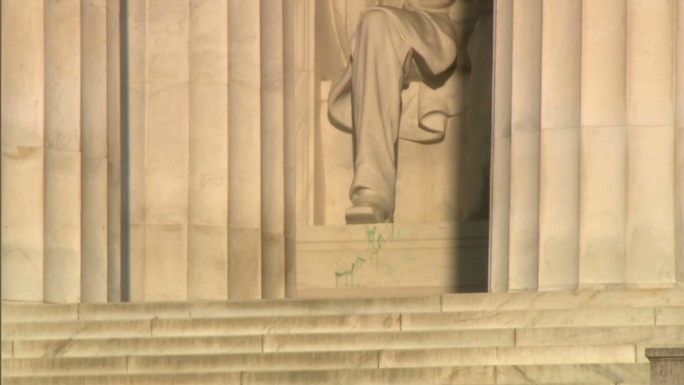 Lincoln Memorial Vandalized Red Paint