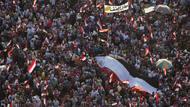 Pro- and anti-Morsy crowds flood streets