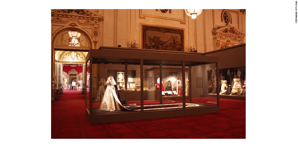 The ballroom with the gown and other artefacts on display.