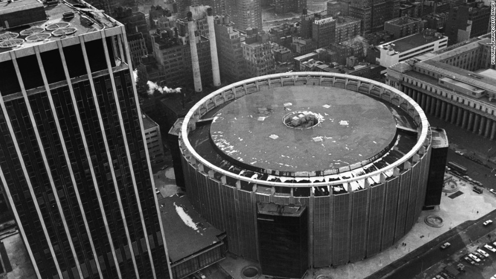 An aerial view shows the current Madison Square Garden in February 1968, soon after its completion. The Madison Square Garden Co. has been given 10 years to find a new venue as New York plans on renovating Penn Station, which sits below the Garden.  Look back at some memorable events that have been hosted in the famous venue.