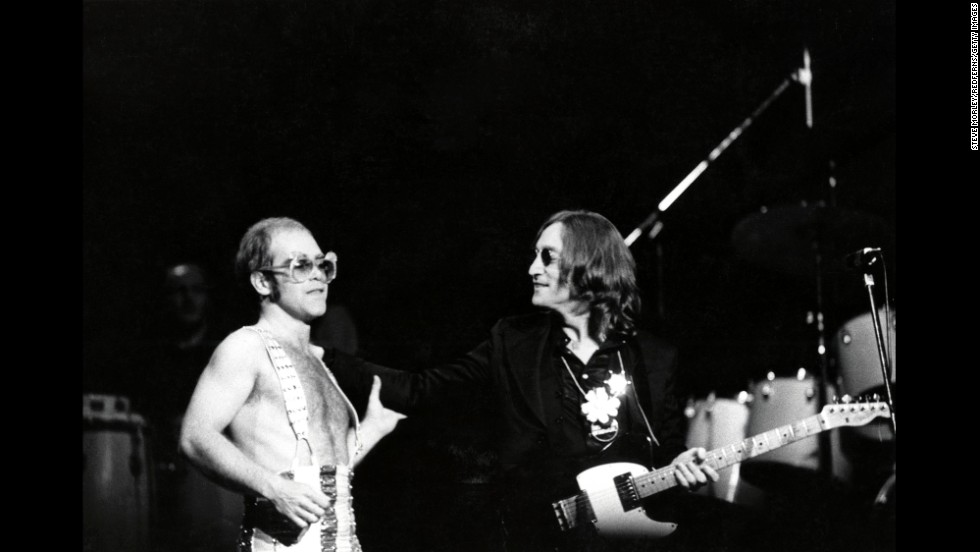 Elton John and John Lennon take the stage together in November 1974.  It was Lennon's last live performance.
