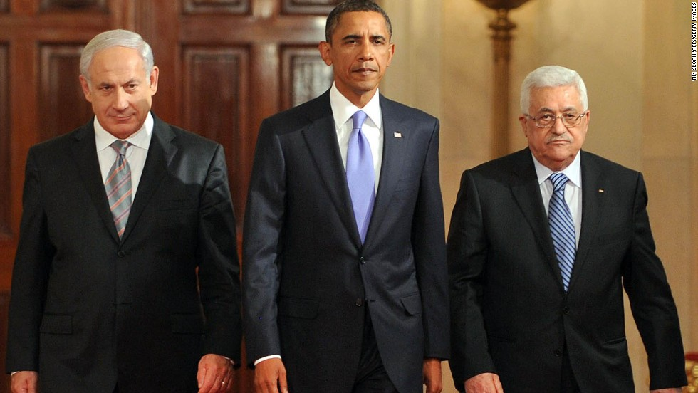 President Barack Obama walks with Prime Minister Benjamin Netanyahu of Israel, left, and President Mahmoud Abbas of the Palestinian Authority, at the White House on September 1, 2010.