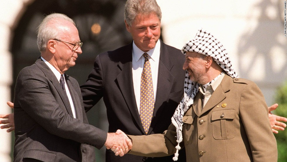 Kết quả hình ảnh cho picture of Clinton and Arafat and Rabin at Oslo agreement