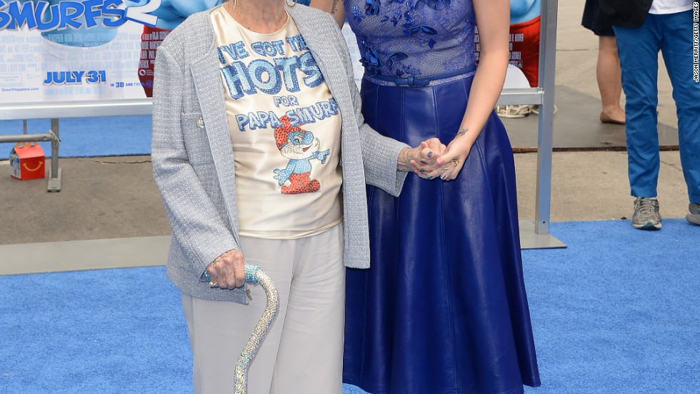 "Katy Perry brings her grandmother as her date to the July 28 premiere of ""Smurfs 2"" in Westwood, California."