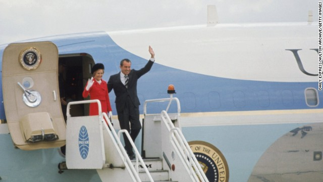 Nixon is pictured arriving at London Airport (now Heathrow), aboard Air Force One, circa 1970.