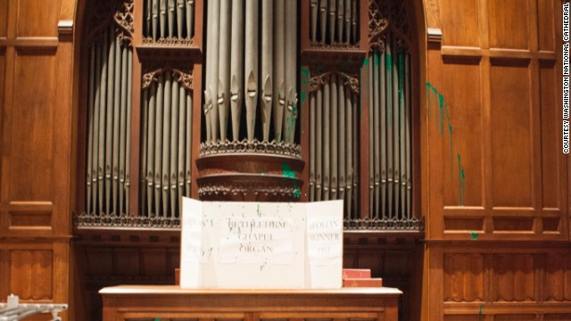 Paint is found splattered on an organ in the Washington National Cathedral