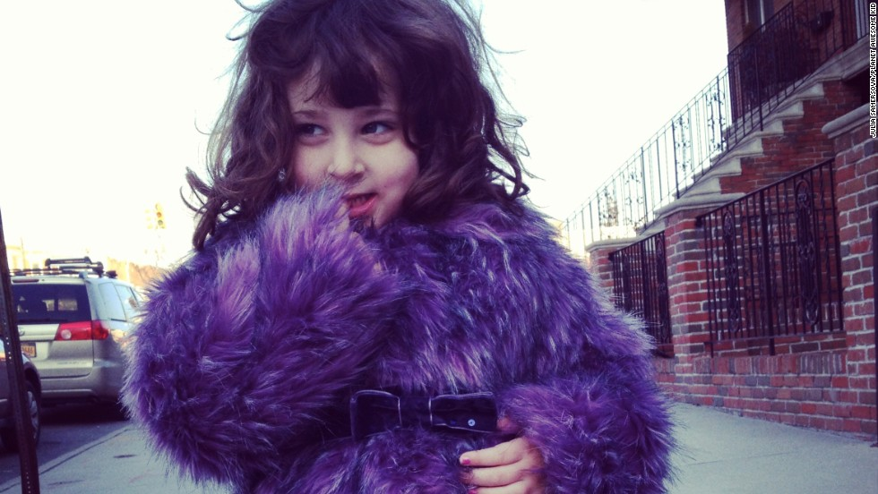 "The latest craze of parents' photos floating around the Internet: children with style and swag. By now you might have seen a Tumblr or Pinterest board with pictures of toddlers striking sassy poses. Julia Samersova, a casting director and blogger who runs ""Planet Awesome Kid"" in Brooklyn, sees kid swagger in her neighborhood every day. Here, her own daughter, Violet, strikes a pose in a purple furry coat."