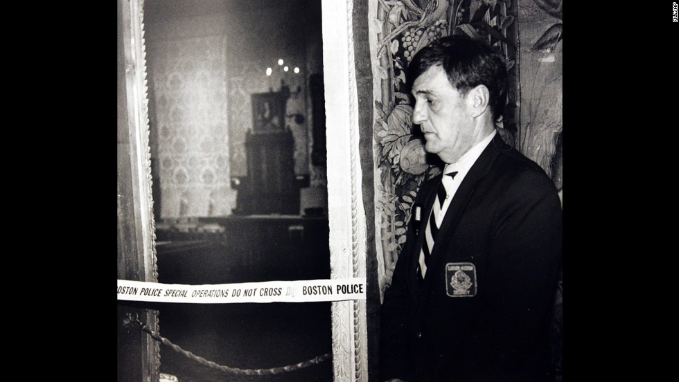 In 1990, robbers posing as Boston police officers entered the Isabella Stewart Gardner Museum's security door, then handcuffed the guards on duty to pipes in the basement. The 13 pieces of stolen artwork, including works by Rembrandt and Vermeer, were valued at $500 million, and are yet to be recovered, despite a $5 million reward offered by the museum for their recovery. Earlier this month, the museum offered $100,000 for the return of one stolen item: a 10-inch-tall  gilded bronze eagle -- a finial dating from the Napoleonic era.