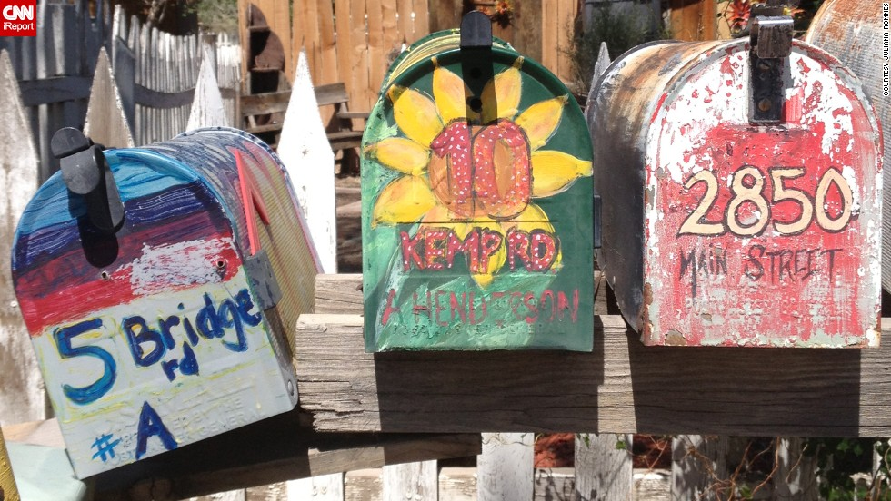 "<a href=""http://ireport.cnn.com/docs/DOC-1012114"">Juliana Romnes</a> spotted these mailboxes while driving through the artist's community of Madrid, New Mexico."