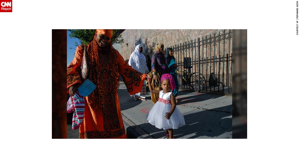 """There are four mosques in the immediate neighborhood and each one celebrates Eid slightly differently,"" said Stephanie Keith from Bedford-Stuyvesant, a part of <a href=""http://ireport.cnn.com/docs/DOC-1010042"" target=""_blank"">Brooklyn</a> that has become a popular area for African immigrants. ""One mosque has the street blocked off during prayer time and all the worshippers fill the streets. Another mosque blocks off the street for the whole day and has a street party. But at every mosque, people don their fanciest outfit of the year most in an African style,"" said the 47-year-old travel journalist who used to live and work in Egypt."