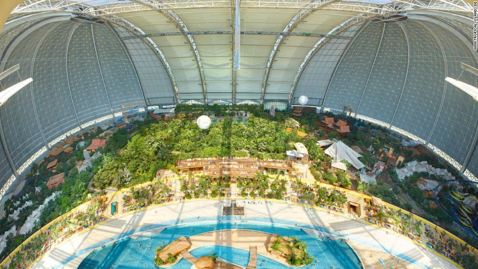 An artificial beach complements the world's largest indoor rainforest at Tropical Islands in Krausnick. It's also home to Germany's tallest water slide tower.