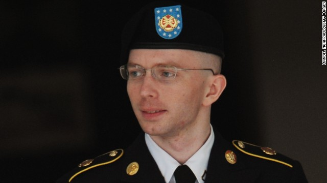Army Pfc. Bradley Manning is escorted from court on July 25, 2013 in Fort Meade, Maryland on July 25, 2013. The trial of Manning, accused of 'aiding the enemy' by giving secret documents to WikiLeaks, is entering its final stage Thursday as both sides present closing arguments.