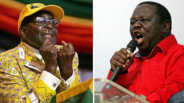 "This combination of two recent pictures taken in Zimbabwe shows (at L) Zimbabwe's president and leader of the Zimbabwe African National Union -Patriotic Front (ZANU-PF) Robert Mugabe, and (at R) Zimbabwe's Prime Minister and Movement for Democratic Change (MDC) leader Morgan Tsvangirai. Zimbabwean Prime Minister Morgan Tsvangirai on July 27, 2013 warned President Robert Mugabe not to ""steal"" a crunch vote next week, so that his veteran rival could exit office with dignity. ""Mugabe stole an election in 2002, he stole the election in 2008. This time we want to tell him that he will not steal again, "" Tsvangirai said to thousands of supporters. AFP PHOTO / JEKESAI NJIKIZANAJEKESAI NJIKIZANA/AFP/Getty Images"