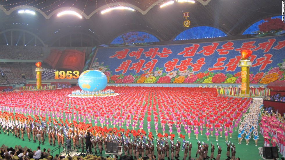 "North Koreans participated in an Arirang ""mass games"" performance on Sunday, July 28, in Pyongyang."